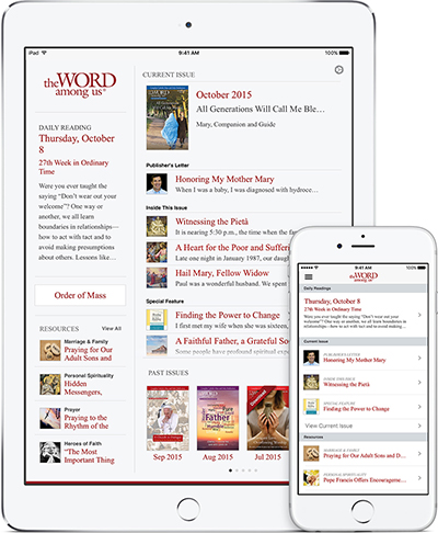 The Word Among Us App - Home Screen