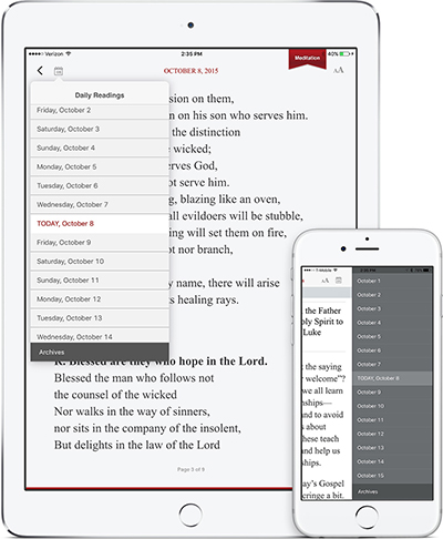 The Word Among Us App - Daily Meditation Screen