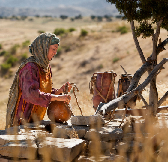 The Samaritan Woman: Jesus gives the woman at the well the gift of life-giving water. by Mary Anne Getty-Sulllivan