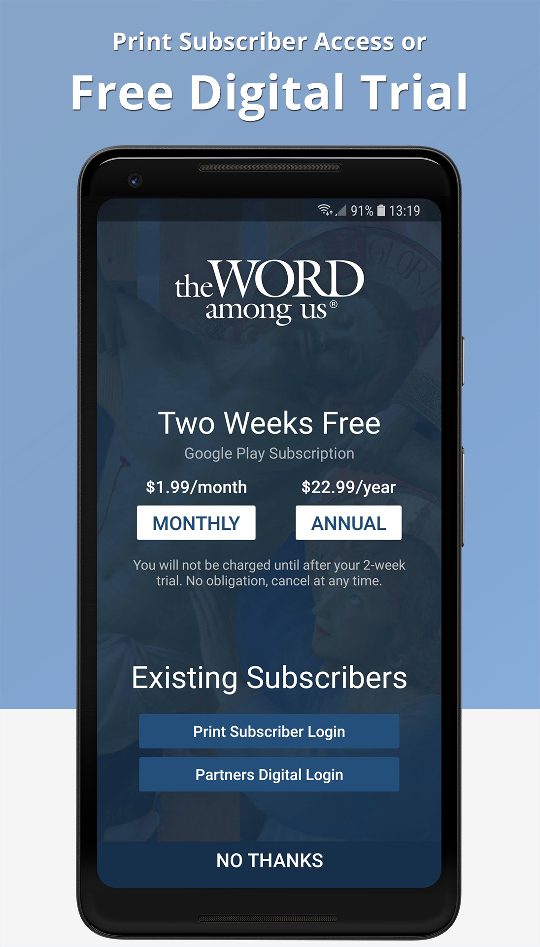 The Word Among Us Android App - Splash Screen
