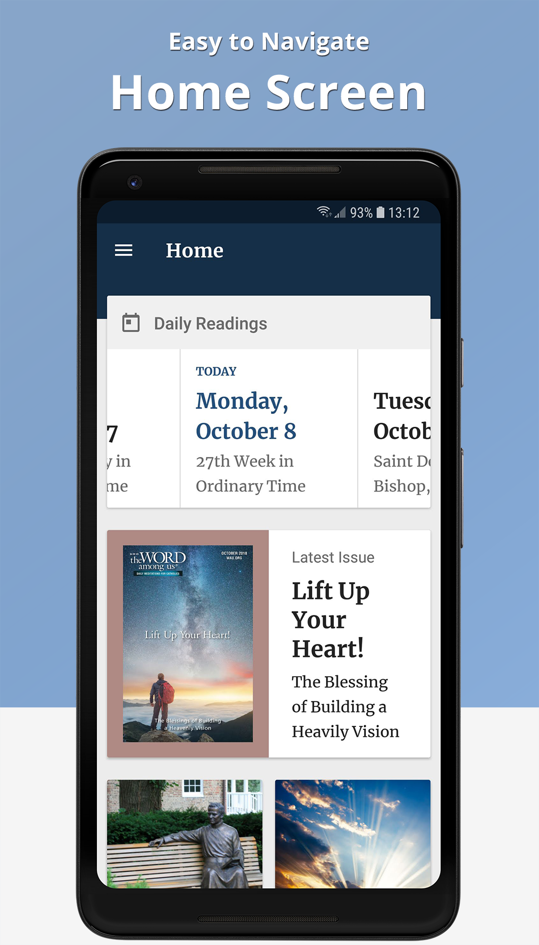 The Word Among Us Android App - Home Screen