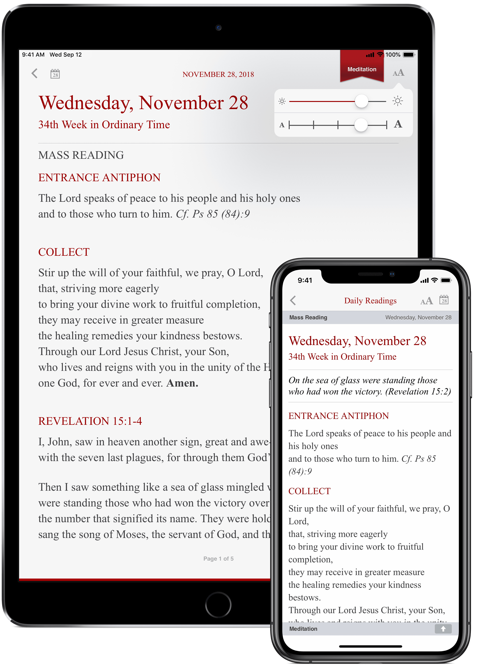 The Word Among Us App - Daily Mass Readings Screen