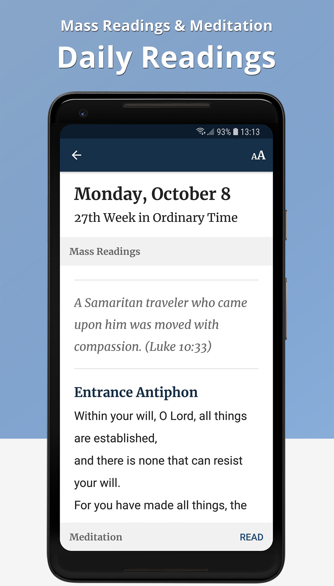 The Word Among Us Android App - Daily Mass Readings Screen