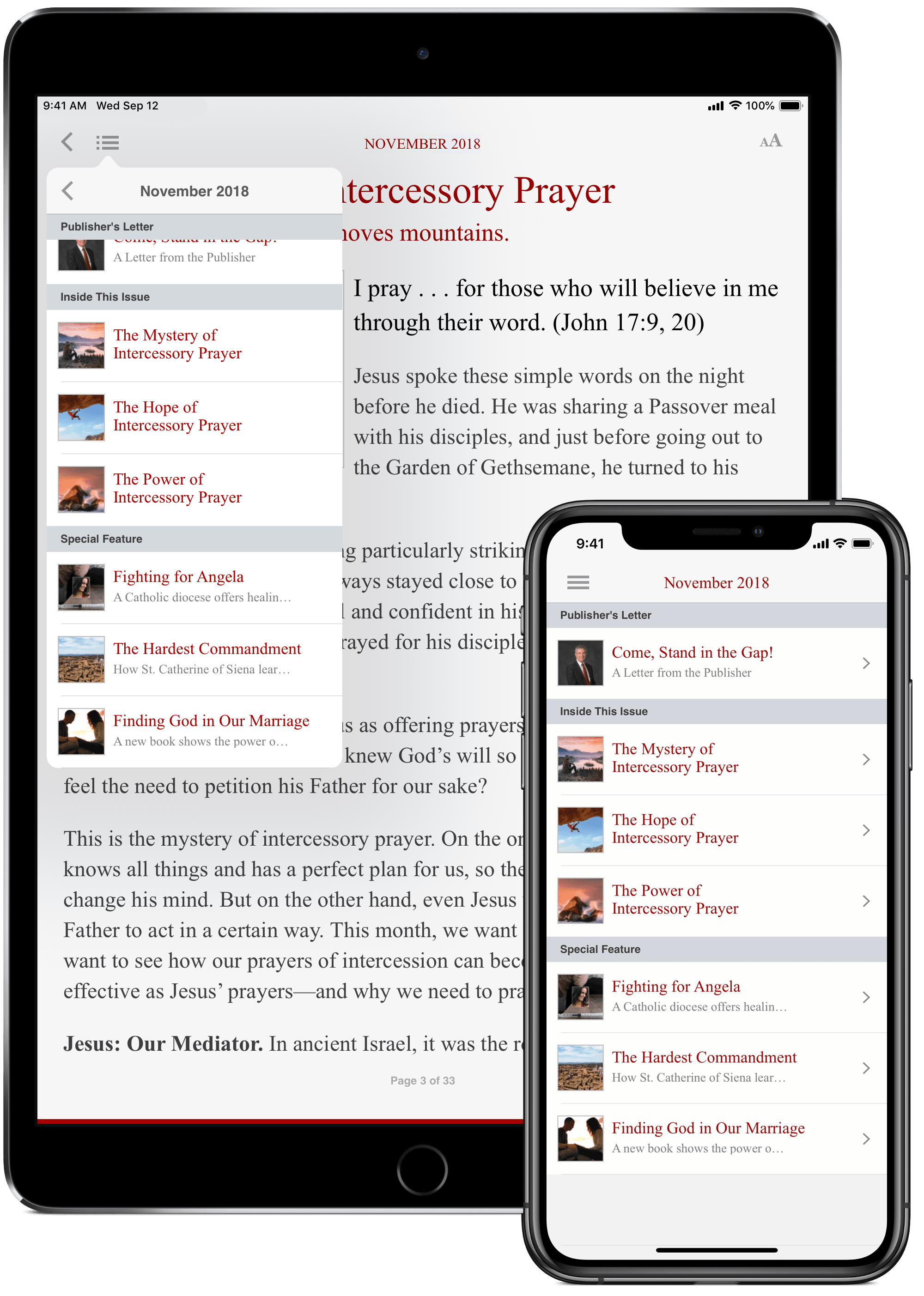 The Word Among Us App - Issue Screen