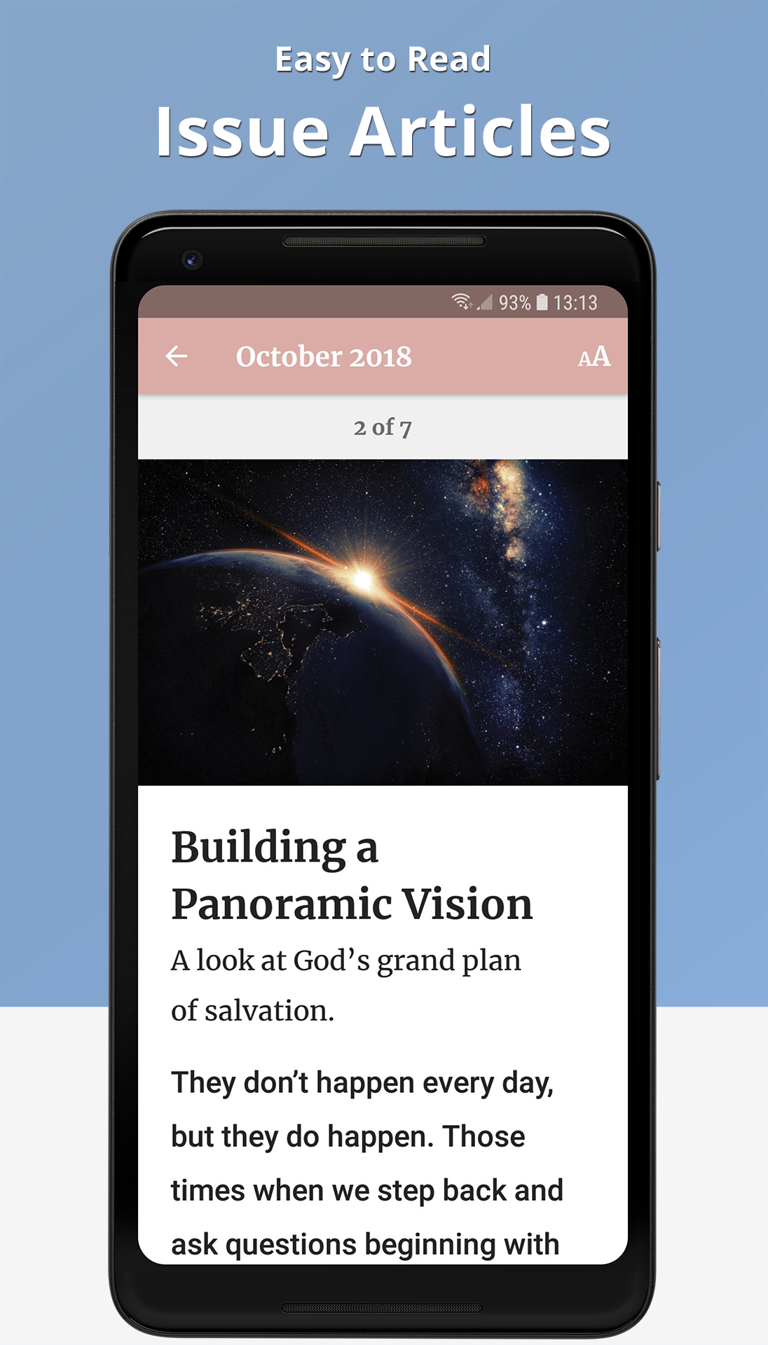 The Word Among Us Android App - Article Screen