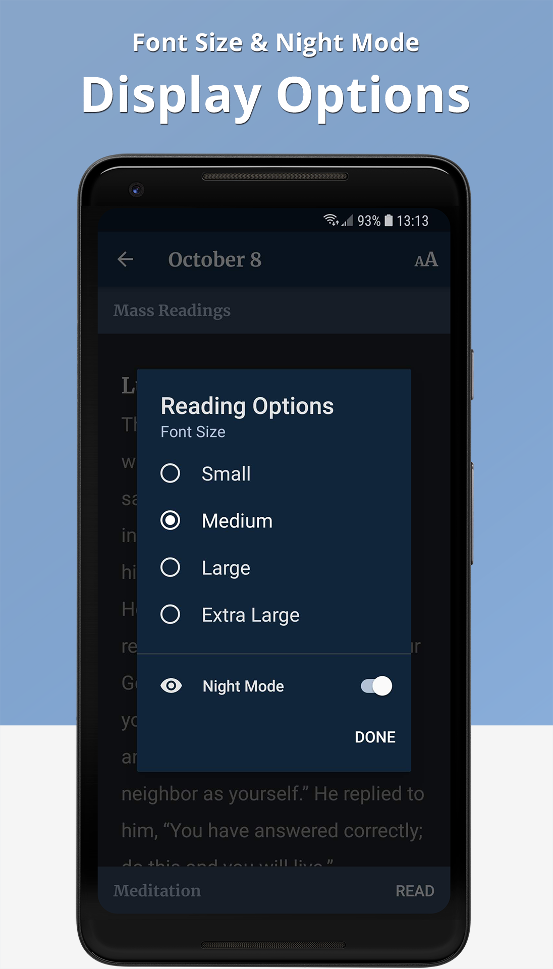 The Word Among Us Android App - Night Mode